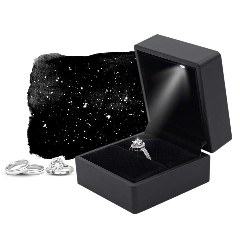 Caja de exhibici/ón de anillos LED caja de almacenamiento de anillos con luz