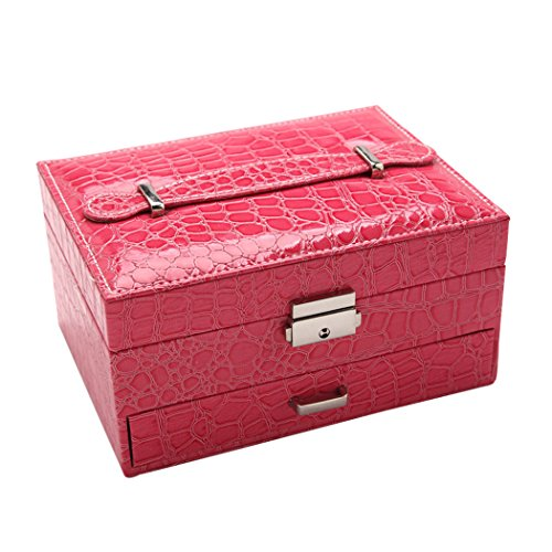 Art Kim Exquisite Jewelry Box Crocodile Pattern Organizer Storage Case Lockable with Mirror