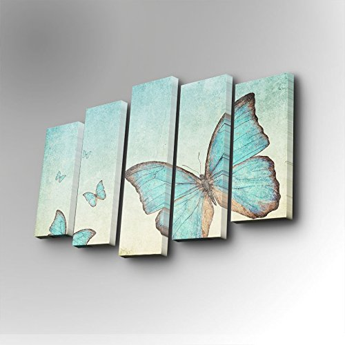 LaModaHome Freedom Canvas Wall Art, Blue Butterfly Pack, Peace Happiness - Wooden Thick Frame Painting, Total Size (32