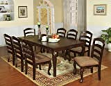 "expandable dining table Furniture of America Kathryn 9-Piece Classic Style Dining Table Set with 18"" Expandable Leaf, Dark Walnut"