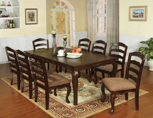 "Furniture of America Kathryn 9-Piece Classic Style Dining Table Set with 18"" Expandable Leaf, Dark Walnut"