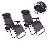 Polar Aurora 2 pack Zero Gravity Chairs Recliner Lounge Patio Chairs Folding Cup Holder(Black)