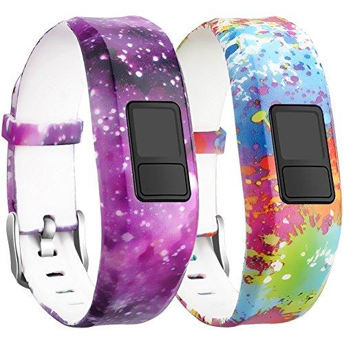 SKYLET Garmin Vivofit 3/ Vivofit JR Bands, Silicone Replacement Bands for Garmin Vivofit 3/Vivofit JR Bracelet with Secure Watch Buckle (No Tracker)[2 Pack: Universe, Small]