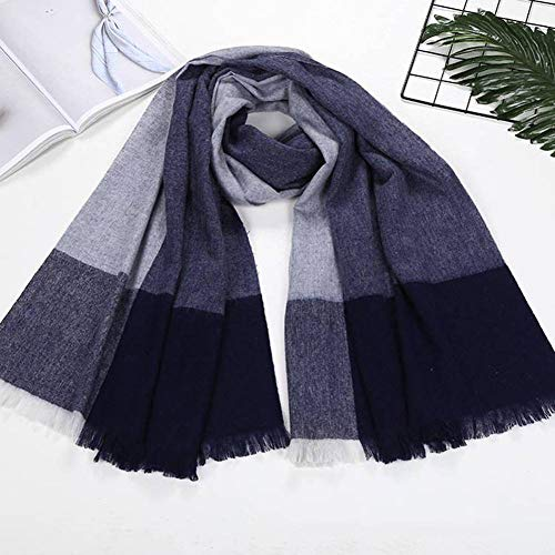 WJS European and American Streets Tassels Wool Women Warm Striped Plaid Lengthened Scarf Autumn and Winter Outdoor Multi-Functional Fgreyion Trend Wild Warm Shawl Scarf Gift, Navy Blue - Knitting Striped Scarves