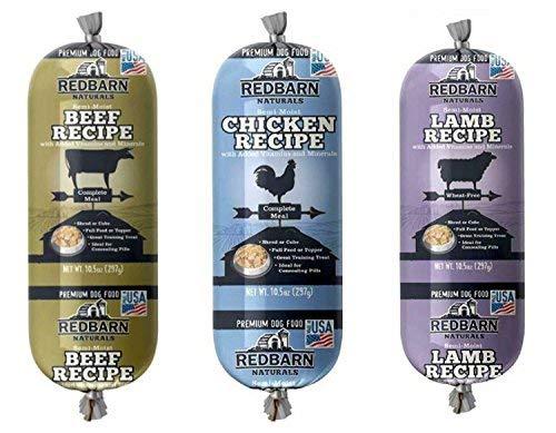 (REDBARN Naturals Premium Dog Food Roll Variety Bundle - 3 Flavors (Lamb, Beef, and Chicken) 3 (Rolls Total) (10 oz Variety))