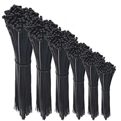 600 Pcs Nylon Cable Zip Ties with Self-Locking 4/6/8/10/12/14 Inch & 0.145 Inch Width By Agolds by Agolds