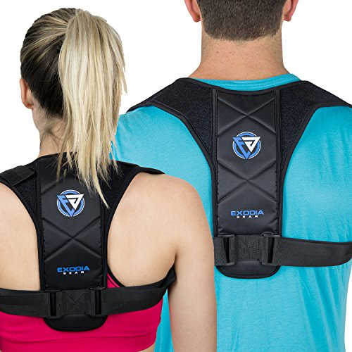 Exodia Gear Posture Corrector, Clavicle Support for Women and Men, Brace Adjustable and Back Pillow Cushion, Comfort Wearable, Improve Upper Correction and Back Pain Relief, Office and Personal