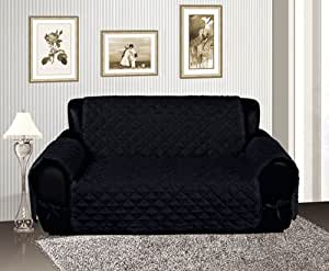 Bednlinens Black Quilted Micro Suede Pet Dog Furniture Loveseat Slipcover Protector Throw