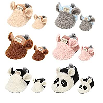Baby Boys Girls Cozy Fleece Booties Non Skid Soft Bottom Warm Socks Newborn First Walker Winter Crib Shoes Brown