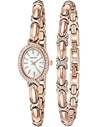 Women's 75/5395MPRGST Swarovski Crystal Accented Rose Gold-Tone Watch and Bracelet Set