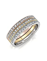 Cate & Chloe Elizabeth 18k Tri-colored Gold Plated Ring Set, Stackable Rings, Gold Rings, Silver Rings, Rose Gold Rings