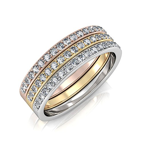 Cate & Chloe Elizabeth 18k Tri-Colored Gold Plated Ring Set, Stackable Rings, Gold Rings, Silver Rings, Rose Gold Rings, MSRP $169