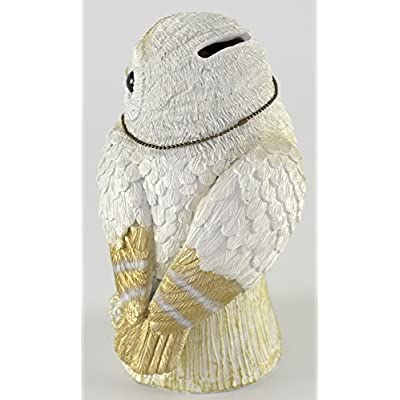 Kishima Lucky Owl Money Bank White & Gold - Cute Owl - Money Fortune: Home & Kitchen