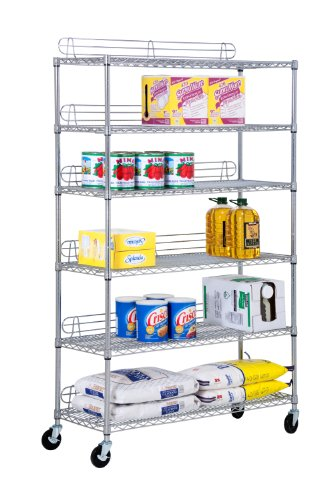 Honey-Can-Do SHF-01450 Commercial Grade Adjustable Shelving Unit, NSF Certified, 600-Pounds Per Shelf, Chrome, 6-Tier, 48Lx18Wx72H by Honey-Can-Do