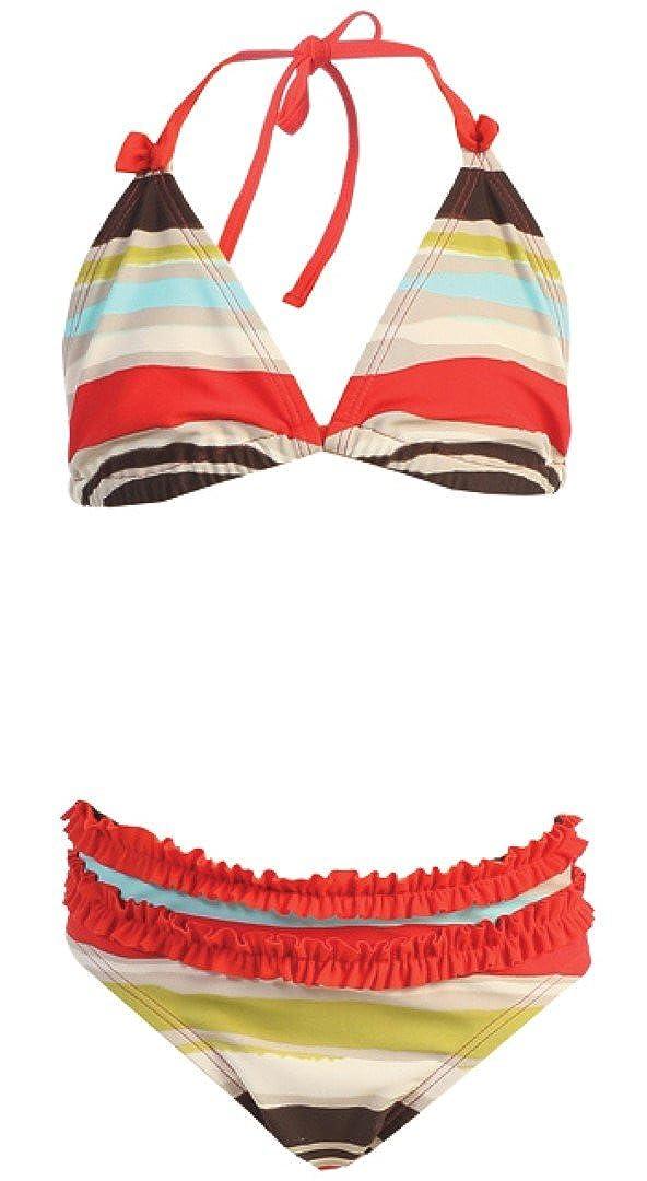 Girls Orange Brown Stripe Swimwear 2 PC