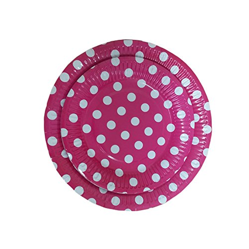 24 Pink And White Polka Dot Dinner And Dessert Plates- Pack Of 24- Includes 12 9 Inch And 12 7 Inch Party Plates. By Premium Disposables. (Plates Polka Dot Pink)