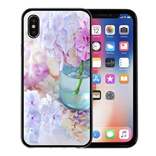 (Emvency Phone Case for Apple iPhone Xs Case/iPhone X Case,Bloom Blue Arrangement Beautiful Hydrangea Flowers in Vase Green Soft Rubber Border Decorative, Black)
