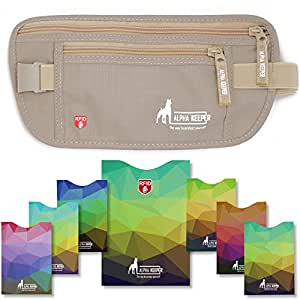 RFID Money Belt For Travel with 1x Passport and 6x Credit Card Protector RFID Sleeves