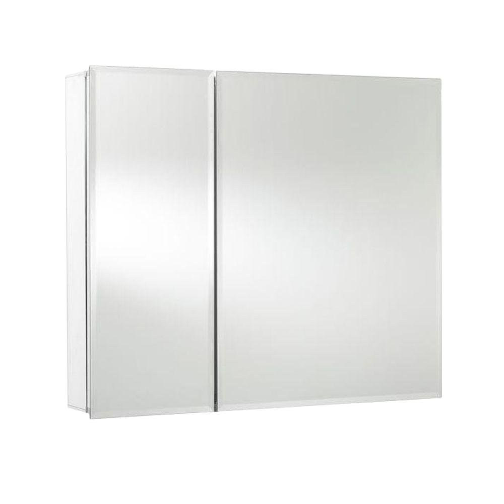 Croydex Halton 26-Inch x 30-Inch Bi-View Recessed or Surface Mount Medicine Cabinet with Hang 'N' Lock Fitting System, Aluminum by Croydex