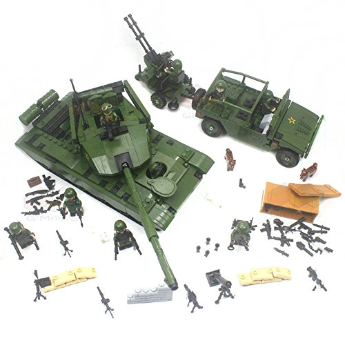 Modern war ZTZ-99 Main battle Tank and Paratrooper Armoured jeep Assembly Building - 100 Main St