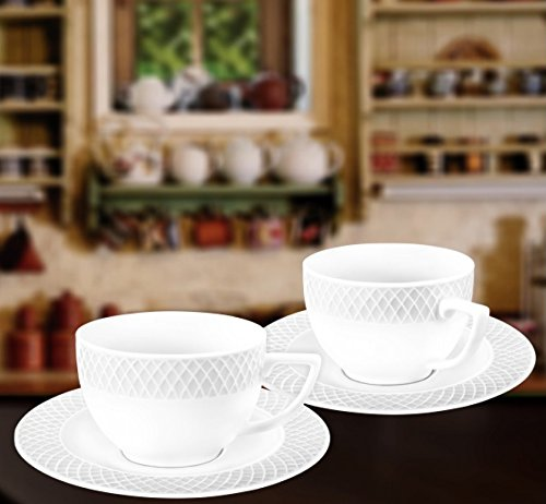 Wilmax WL-880106, 6 oz. Julia Collection White Porcelain Cappuccino Cups & Saucers, Classic European Bone China Coffee/Tea Cups with Saucers, Gift Box Set of 12 (6 cups + 6 saucers) European White Souffle