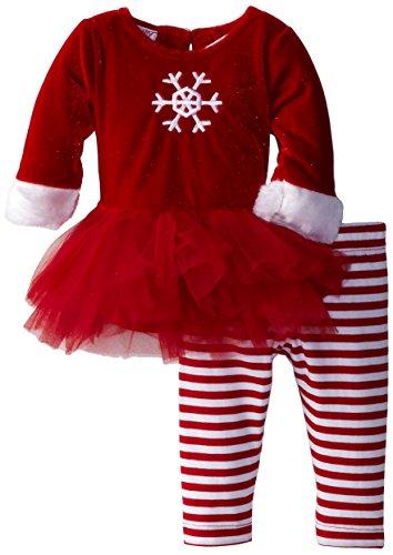 Blueberi Boulevard Baby-Girls Newborn Red Snowflake Holiday Tutu Set, Red, 3-6 Months