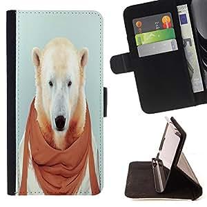Dragon Case- Caja de la carpeta del caso en folio de cuero del tir¨®n de la cubierta protectora Shell FOR Samsung GALAXY ALPHA G850 SM-G850F G850Y G850M- Bear Funny