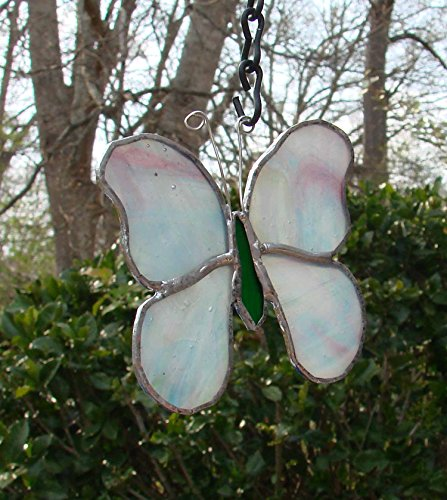 Pastel Pink Purple & Blue Stained Glass Butterfly Handmade Sun Catcher (Purple Butterfly Stained Glass)