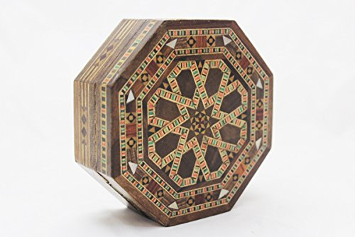 Hand-made MOSAIC BOX w inlaid wood & mother of pearl pieces