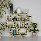 LaModaHome Cardboard Shelf 100% Corrugated Cardboard (20.5'' x 18.9'' x 2.8'') Gold Hexagon Triangle Decorative Design Bedroom Storage Shelf Multi Purpose