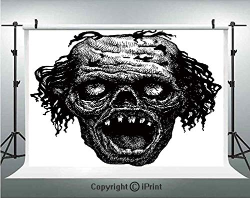 Halloween Photography Backdrops Zombie Head Evil Dead Man Portrait Fiction Creature Scary Monster Graphic,Birthday Party Background Customized Microfiber Photo Studio Props,5x3ft,Black Dark -