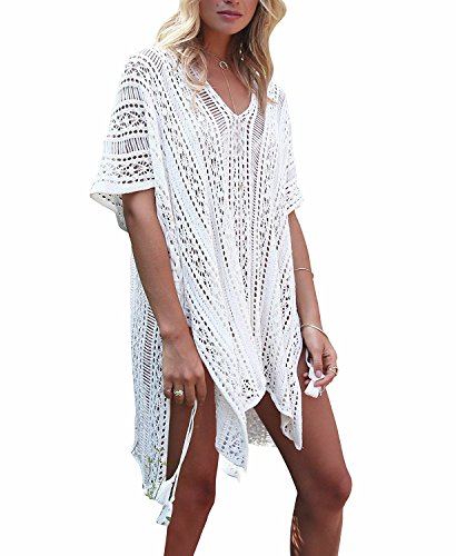 Plus Size Swimwear Cover Ups - shermie Women's V-Neck Hollow Out Knitted Bikini Swimwear Cover Ups Plus Size Short Loose Beach Dresses Beige