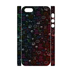 3D iPhone 5,5S Case,Cute Halloween Monsters Pattern Hard Shell Back Case for White iPhone 5,5S