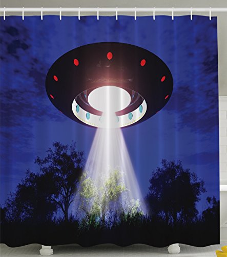 Ambesonne Space Shower Curtain Home Decor, Jupiter Neighbors Outer Space UFO Aliens Spaceship Extra Terrestrial Theme Design Print, Astronomy Gifts, Polyester Fabric Bathroom Set, Blue Black -