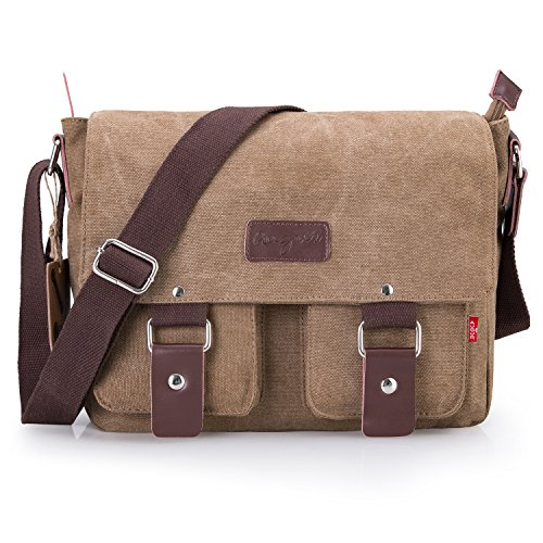 Bienna Vintage Canvas Messenger Bag Satchel Laptop Over Shoulder Crossbody Side Bags with Zipper for Men Women School Outdoor Sports EDC 13