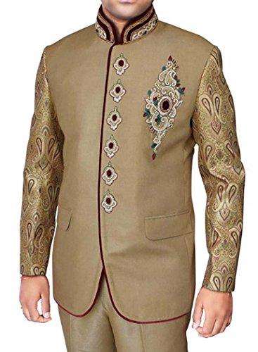 INMONARCH Mens Tan 2 Pc Jodhpuri Suit Royal Engagement JO258XL34 34 X-Long Tan from INMONARCH