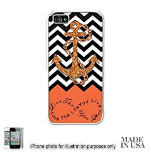 Anchor Live the Life You Love Infinity Quote - Orange Black White Chevron with Anchor (Not Actual Glitter) iPhone 4 4S Case - WHITE RUBBER by Unique Design Gifts