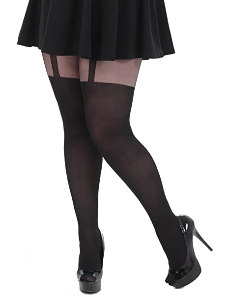 04dd4094c Plus Size Mock Suspender Tights XL to 3x at Amazon Women s Clothing store