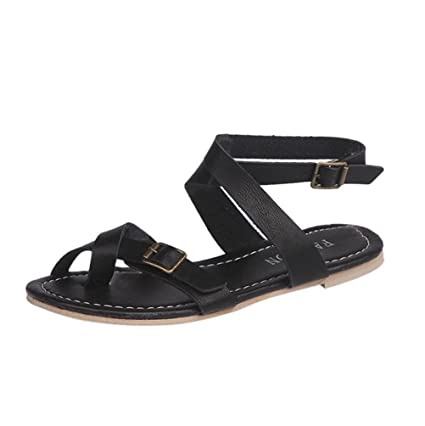 2478e3c433a2e3 HighlifeS Women Sandals Flat Ankle Buckle Gladiator Thong Flip Flop Casual  Summer Shoes (Black