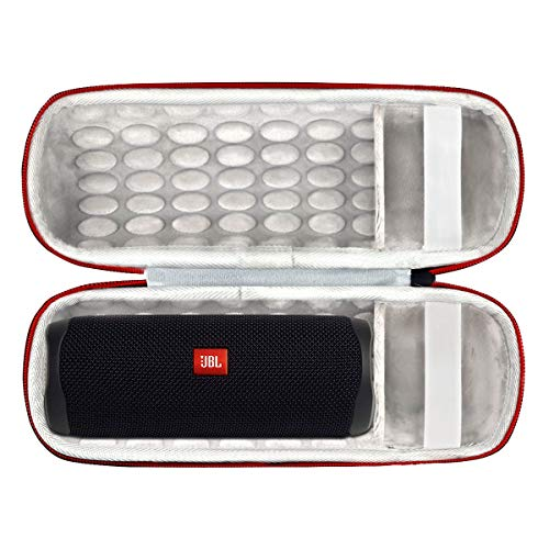 Asafez Hard Travel Case Compatible with JBL FLIP 5 Flip5 Waterproof Portable Speaker (with Handle and Charger Compartment)