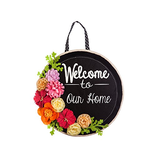Evergreen Flag Springtime Welcome Outdoor Safe Burlap Hanging Front Door Decorative Sign -