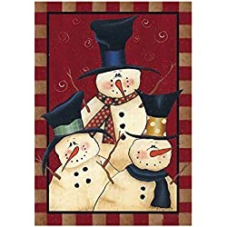 Kicode Friends Garden Outdoor Flag Snowman Winter Seasonal Banner Merry Xmas Decoration Ornament