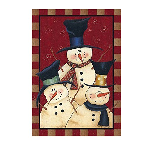 Kicode Friends Garden Outdoor Flag Snowman Winter Seasonal Banner Merry Xmas Decoration Ornament