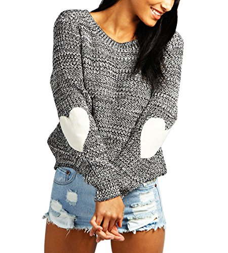 Women's Cute Chunky Sweater Heart Pattern Elbow Pullover Jumpers Grey XXL ()