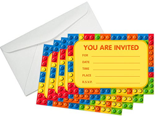 Building Blocks Birthday Party Invitations (8 Pcs) & (8) White Paper Envelopes - The Invite Cards Every Kid Will Love! Brick Shapes Mini Figure Theme Party -