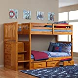 Discovery World Furniture Honey Mission Staircase Bunk Bed Twin/Twin with 3 Drawers on One Side For Sale