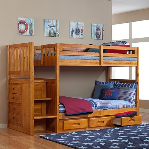 Discovery World Furniture Honey Mission Staircase Bunk Bed Twin/Twin with 3 Drawers on One - Loft Discovery All One