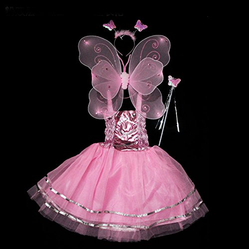 PACOOL Girls Dress Up Princess Fairy Costume Set With Dress, Wings, Wand and Headband For children Ages 3-10 (Girls Fairy Princess Costume)