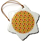 3dRose Anne Marie Baugh - Patterns - Cute Pink, Green, and Red Mexican Guitars On Orange Pattern - 3 inch Snowflake Porcelain Ornament (ORN_295471_1)