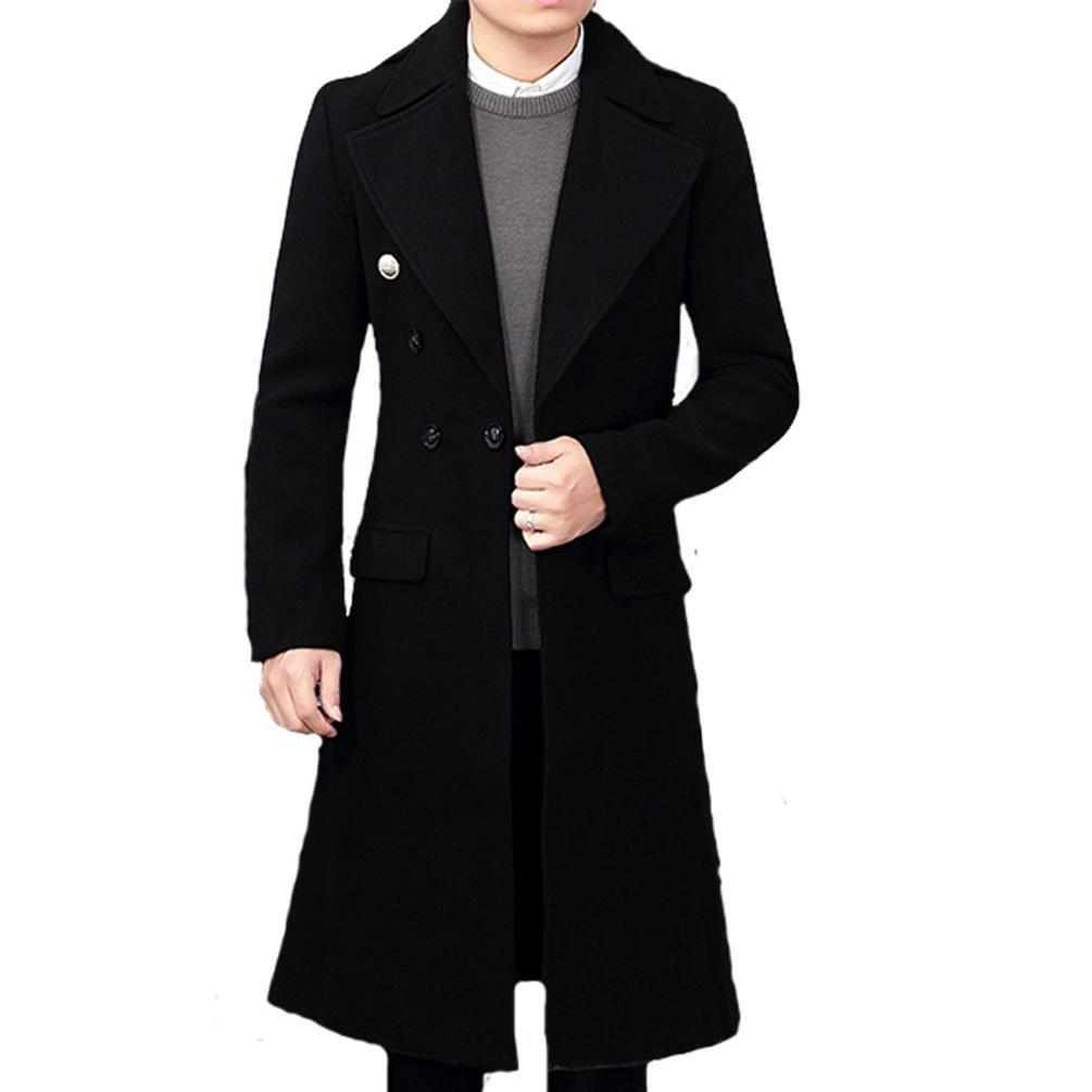 Klorim Men's Tailored Collar Luxury Long Wool Coat Full Length Topcoat (36, Black) by Klorim
